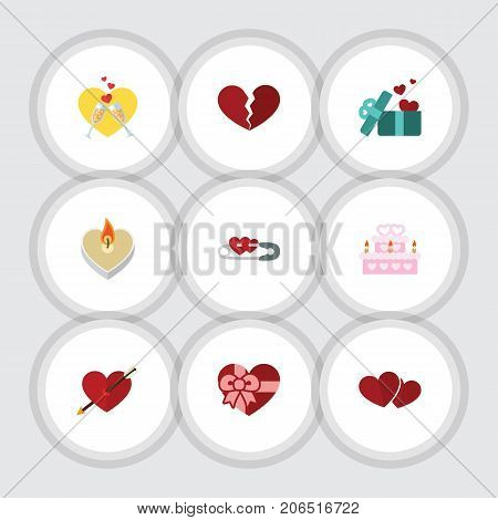 Flat Icon Heart Set Of Soul, Celebration, Divorce And Other Vector Objects