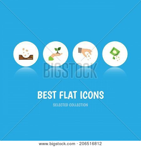 Flat Icon Sow Set Of Care, Seed, Sow And Other Vector Objects