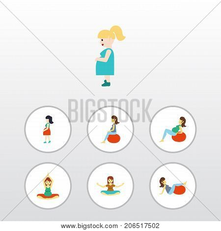 Flat Icon Pregnant Set Of Pregnant Woman, Yoga, Mother And Other Vector Objects