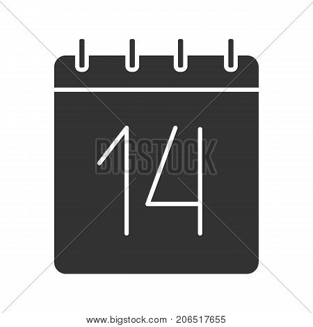 Fourteenth day of month glyph icon. Date silhouette symbol. Wall calendar with 14 sign. Negative space. Vector isolated illustration