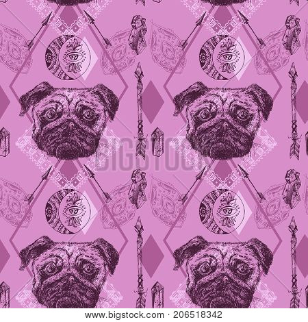 Beautiful hand drawn vector seamless pattern sketching of dog. Boho style drawing. Use for postcards, print for t-shirts, posters, tattoo, textile.