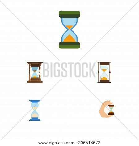 Flat Icon Hourglass Set Of Minute Measuring, Waiting, Hourglass And Other Vector Objects