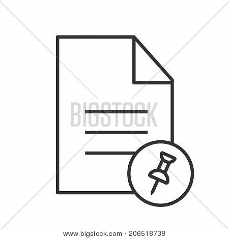 Pin document linear icon. Thin line illustration. Text file with pin. Contour symbol. Vector isolated outline drawing