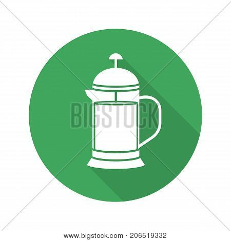 French press flat design long shadow glyph icon. Brewing tea pot. Vector silhouette symbol