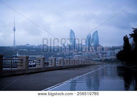 Rainy Day in Azerbaijan Capital City of Baku, Land of Fire