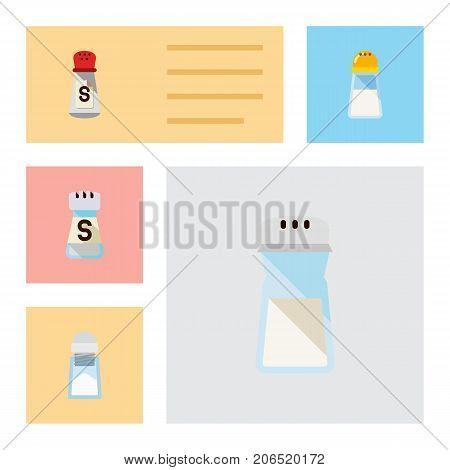 Flat Icon Salt Set Of Saltshaker, Sodium, Salt And Other Vector Objects