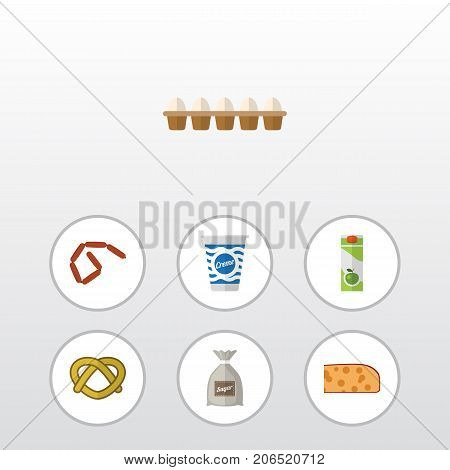 Flat Icon Food Set Of Cookie, Eggshell Box, Bratwurst And Other Vector Objects