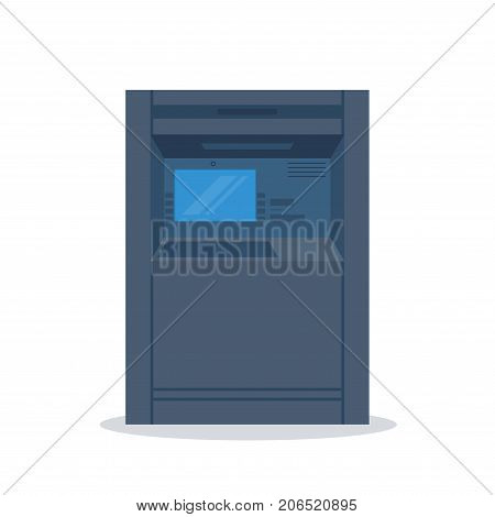 ATM machine terminal. Dark terminal on white background. Screen and credit card receiver. Banking and finance transactions. Flat style line modern vector illustration with gold colors.