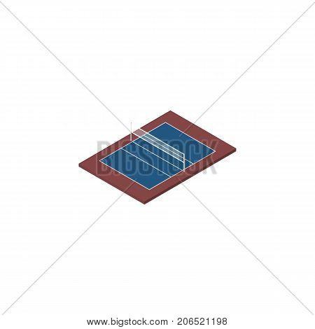 Tennis Vector Element Can Be Used For Tennis, Volleyball, Playground Design Concept.  Isolated Volleyball Isometric.