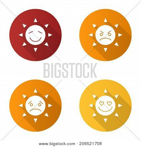 Sun smiles flat design long shadow glyph icons set. Good and bad mood. Happy, sad, angry, in love sun smiles. Vector silhouette illustration
