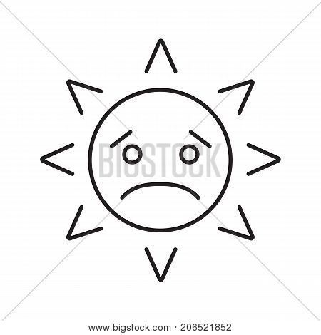 Sad sun smile linear icon. Bad mood thin line illustration. Emoticon contour symbol. Vector isolated outline drawing