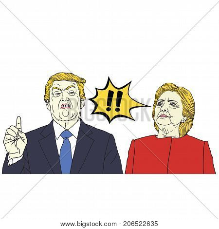 Donald Trump Vs Hillary Clinton. Pop Art Vector Illustration. September 29, 2017