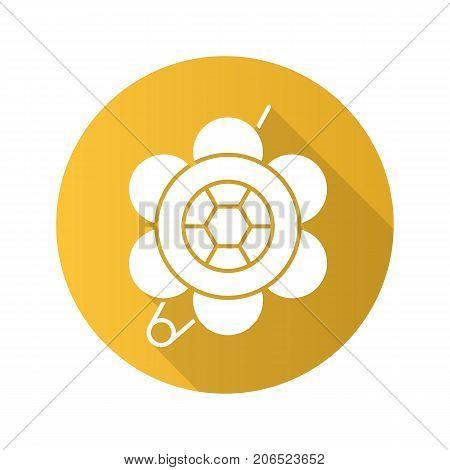 Brooch flat design long shadow glyph icon. Flower shape brooch. Vector silhouette illustration