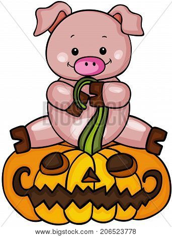 Scalable vectorial image representing a Cute pig with halloween pumpkin, isolated on white.