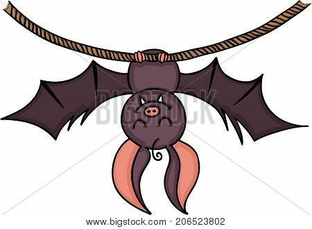 Scalable vectorial image representing a happy bat hanging on a rope, isolated on white.