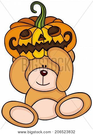 Scalable vectorial image representing a teddy bear holding halloween pumpkin, isolated on white.