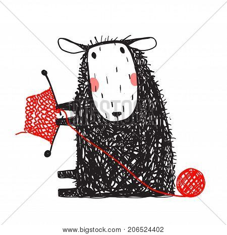 Sitting with hobby little adorable woolen animal cartoon. Vector illustration.