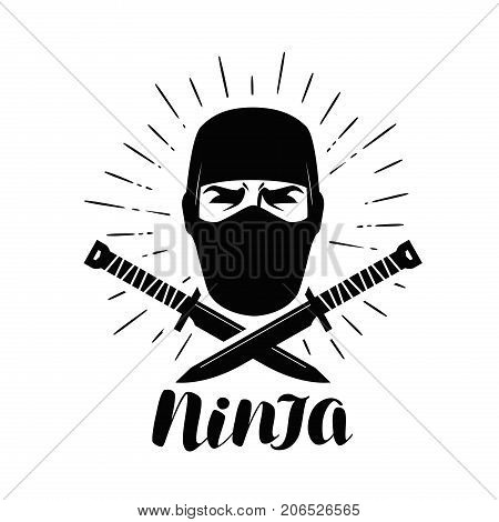 Ninja logo or label. Saboteur, warrior, fighter symbol. Lettering vector illustration isolated on white background