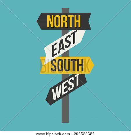Sign post for direction of north, south, east, west, flat design icon