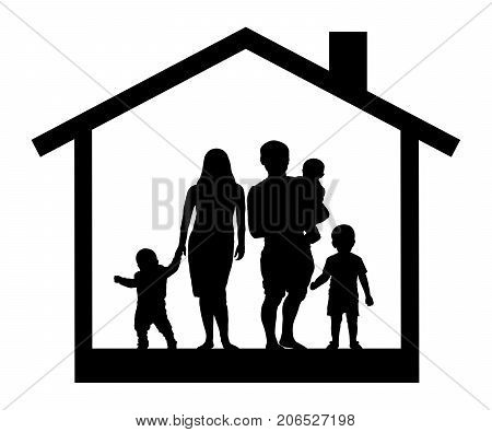 Large family in  house silhouette , vector