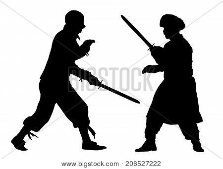 Martial fight arts. Battle swords. Silhouette vector