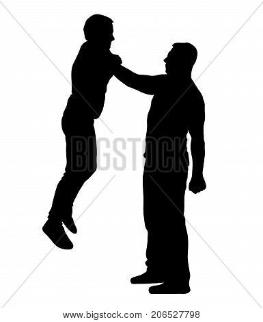 Fight Man holding a man by the throat with one hand silhouette vector