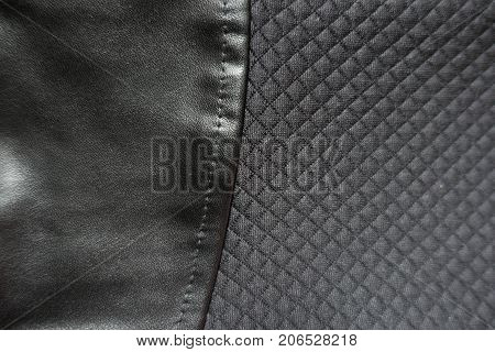 Black Artificial Leather Sewn To Polyester Fabric With Relief Checks