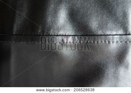 Horizontal Seam On Simple Black Artificial Leather
