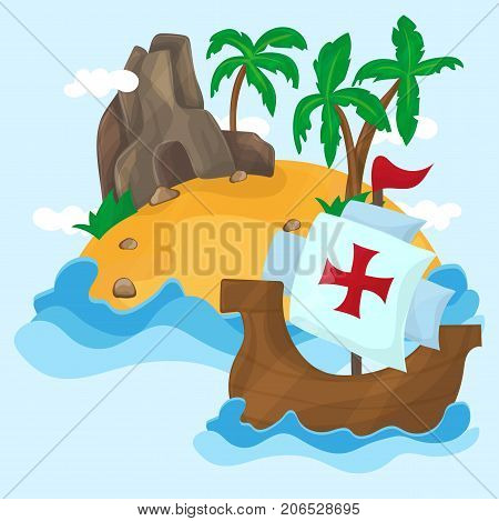 The ships of Christopher Columbus on their way to America - Tropical Island with palms in ocean