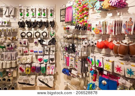 NETHERLANDS - DELFT - AUGUST 26 2017: Interior of a store from the Flying Tiger Copenhagen design shop in Delft Netherlands with varied collection of products.