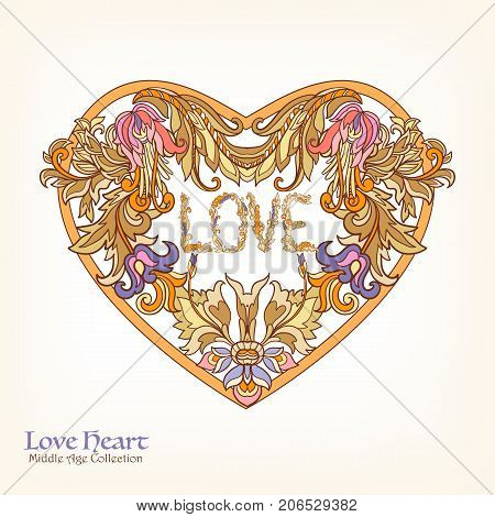 Decorative Love Heart in rococo, victorian, renaissance, baroque, royal style. Good for greeting card for birthday, invitation or banner. Vector illustration.