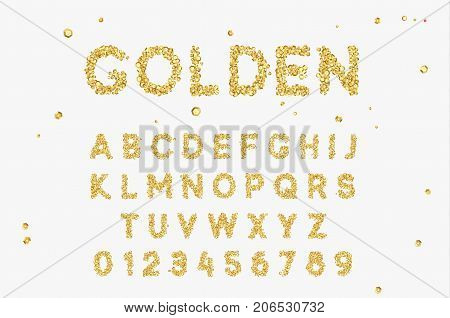Gold Font set with letters from golden sequins.