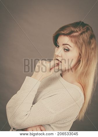 Blonde Woman Contemplating Thinking About Something