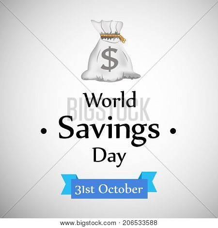illustration of a bag with World Savings Day 31st October text on the occasion of World Saving Day