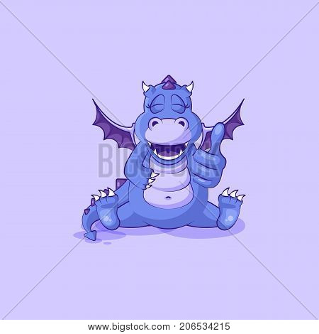 Vector Stock Illustration isolated Emoji character cartoon dragon dinosaur approves with thumb up sticker emoticon for site, info graphics, video, animation, websites, mails, newsletters, reports