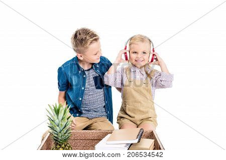 Kids With Headphones, Suitcase And Pineapple