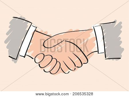 Hand vector drawing of handshake. Symbol of friendship partnership and cooperation. Sketch handshake. Business handshake. The cooperation of people, companies