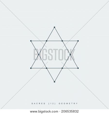 sacred geometry. thin line david star symbol. outline magen david sign. esoteric or spiritual symbol. isolated on white background. vector illustration