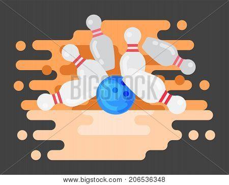 Vector bowling logo emblem and design element logotype template badge item design for sport league teams success equipment champion illustration. Tournament skittles activity goal game.