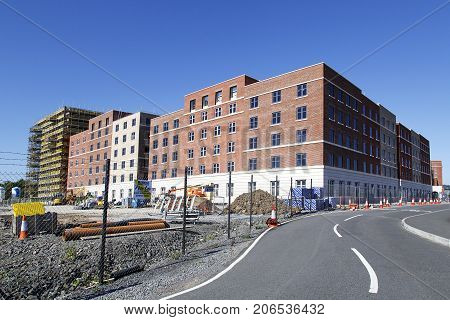 Swansea Bay Campus, UK: June 2017: New residential apartments are under construction at Swansea University Bay Campus. The Bay Campus is the home to the College of Engineering and School of Management.