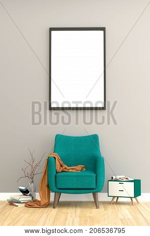 Minimal living room interior with green fabric armchair, cabinet,  and plants on empty wall background.3d rendering.