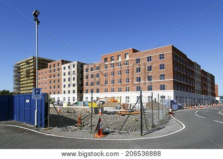 Swansea Bay Campus, UK: June 2017: New residential apartments under construction at Swansea University Bay Campus. The Bay Campus is the home to the College of Engineering and School of Management.