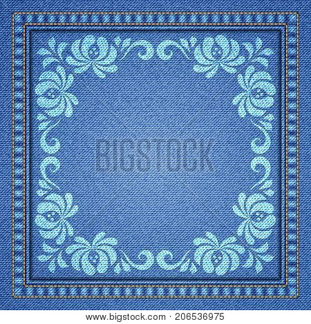 Denim background with decorative seams and floral ornament. Vector Illustration