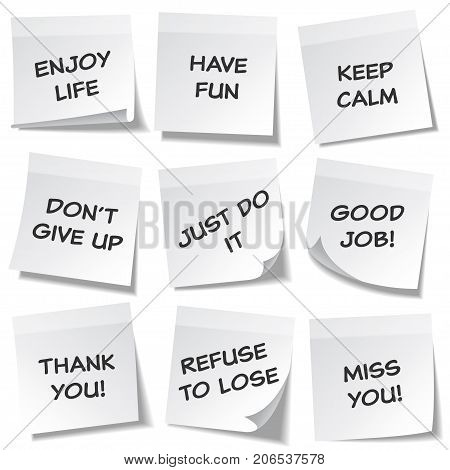 Sticky note with text and shadow isolated on transparent background set. White paper. Message on notepaper.Reminder. Vector illustration.