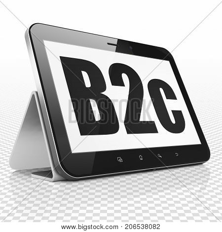 Business concept: Tablet Computer with black text B2c on display, 3D rendering poster