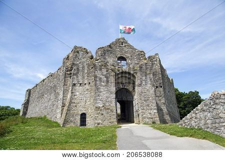 Swansea, UK: June 23, 2016: Oystermouth Castle has recently had essential conservation work. The restoration work was supported by the Heritage Lottery Fund, Cadw and Friends of Oystermouth Castle.