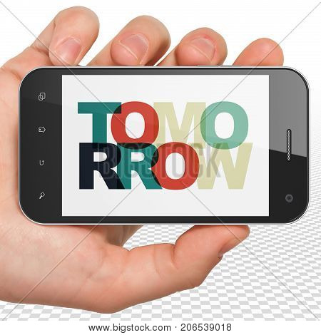 Time concept: Hand Holding Smartphone with Painted multicolor text Tomorrow on display, 3D rendering