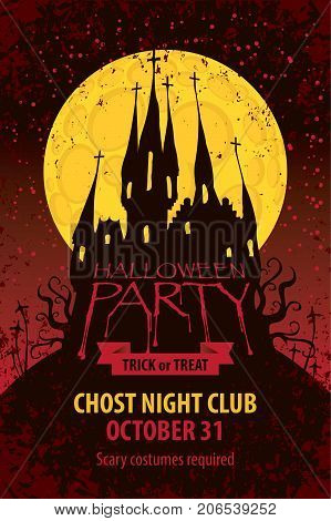 Vector banner for Halloween party with an old Gothic castle in the cemetery on the background of the full moon in grunge style