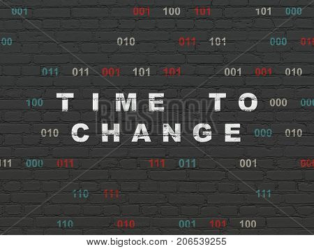 Time concept: Painted white text Time to Change on Black Brick wall background with Binary Code