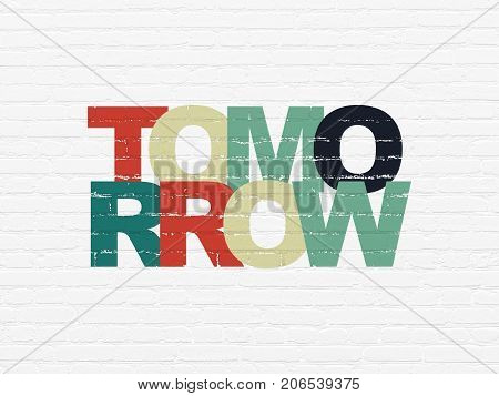 Time concept: Painted multicolor text Tomorrow on White Brick wall background